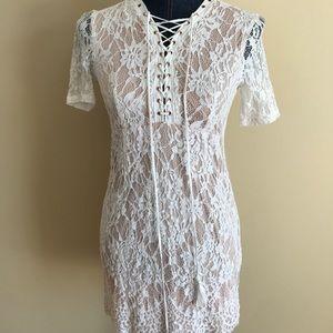 Love Tree short lace summer dress rose gold zipper